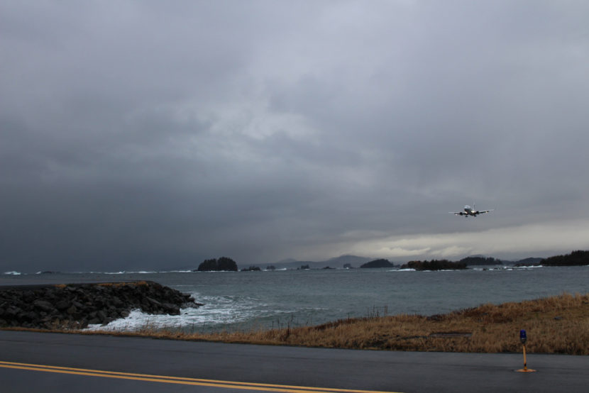 Sitka's runway is encompassed by the Pacific Ocean. The tides bring in debris and some of that debris attracts birds, creating a natural buffet (Photo by Emily Kwong/KCAW photo)