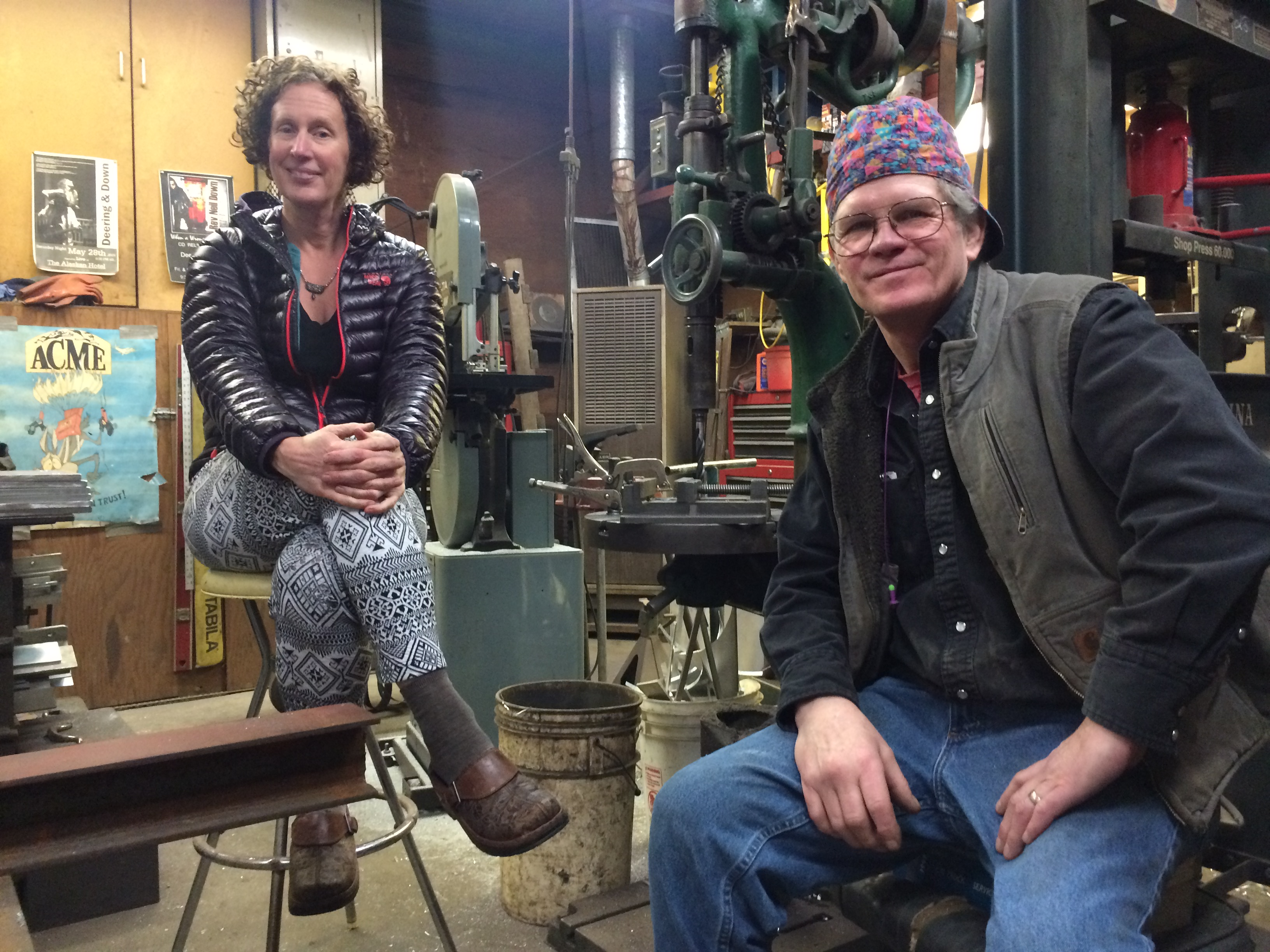 MK MacNaughton and Sherman Johnson in his shop. Photo by Scott Burton/KTOO)