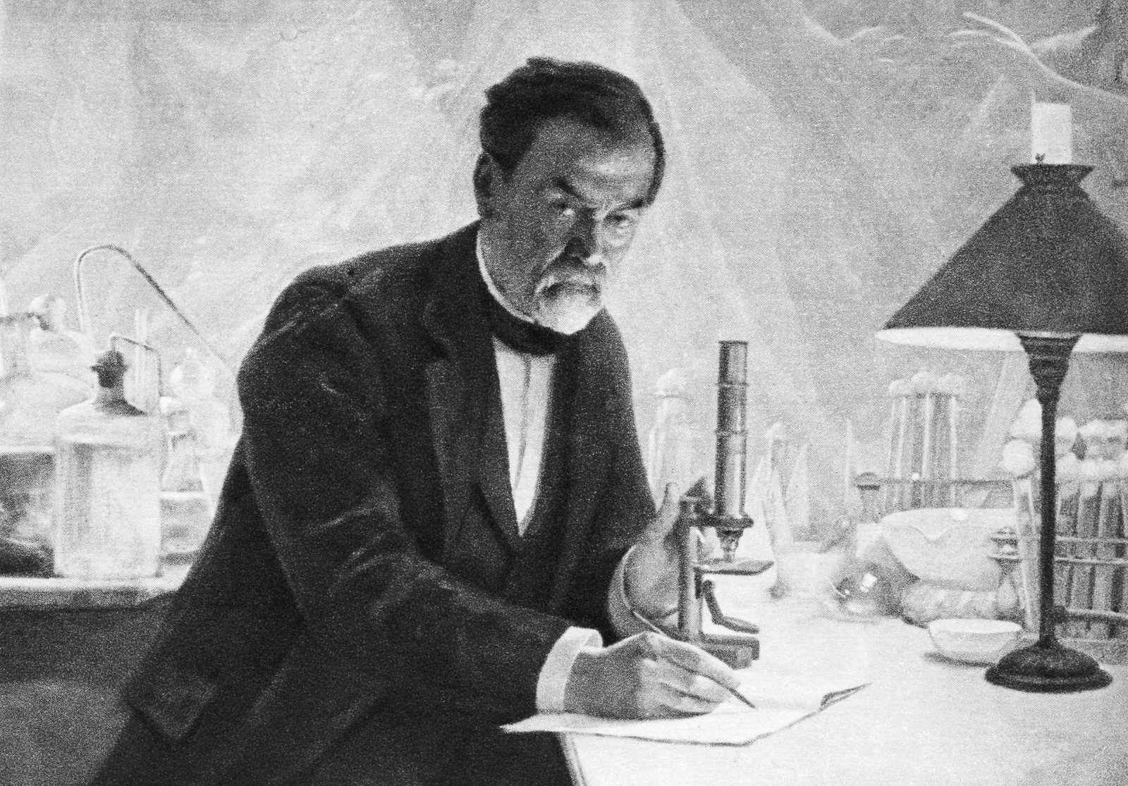 """A painting of Louis Pasteur in his laboratory. The French chemist and microbiologist once said, """"Fortune favors the prepared mind."""" A new report on pandemics bears a similar message. Corbis"""