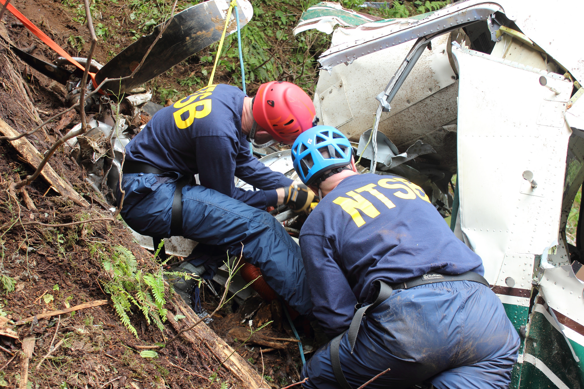 NTSB investigators Brice Banning and Clint Crookshanks on scene near Ketchikan examining the wreckage of a sightseeing plane that crashed in Alaska on June 25, 2015. This is not one of the crashes in the series. (Creative Commons photo by National Transportation Safety Board)