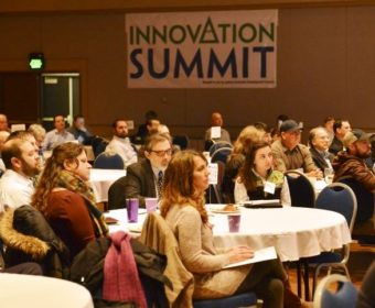 Audience members listen to speakers during the 2015 Innovation Summit at Juneau's centennial Hall. (Photo courtesy Governor's Office)