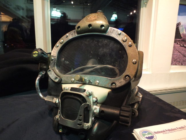 A diver's personal helmet is put on display by Global Diving and Salvage during the open house. (Photo by Matt Miller/KTOO)