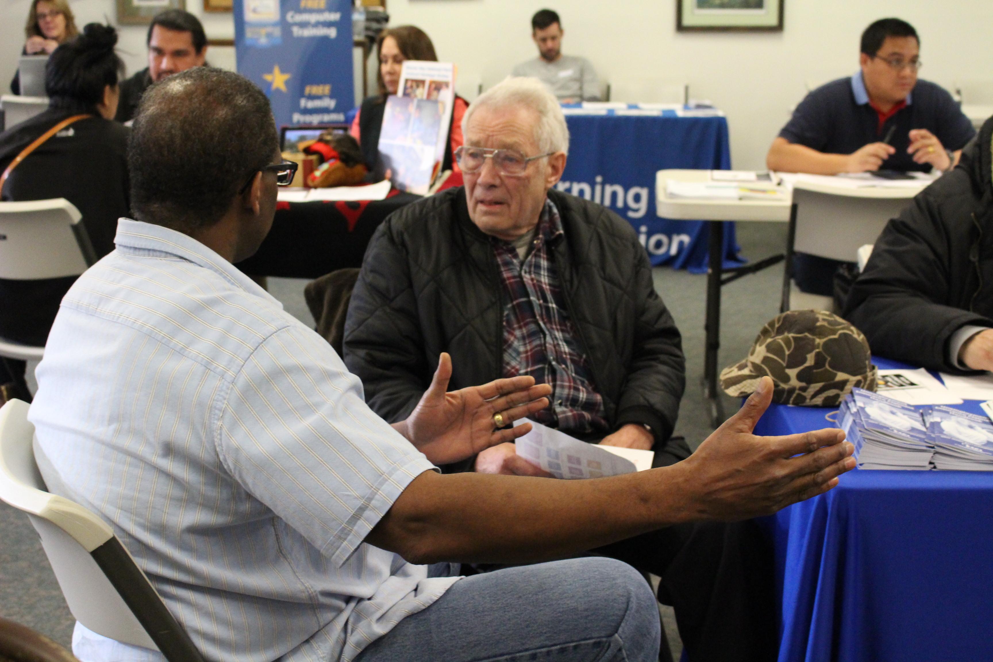 A Wal-Mart employee talks to the Juneau Job Center. (Photo by Elizabeth Jenkins/KTOO)