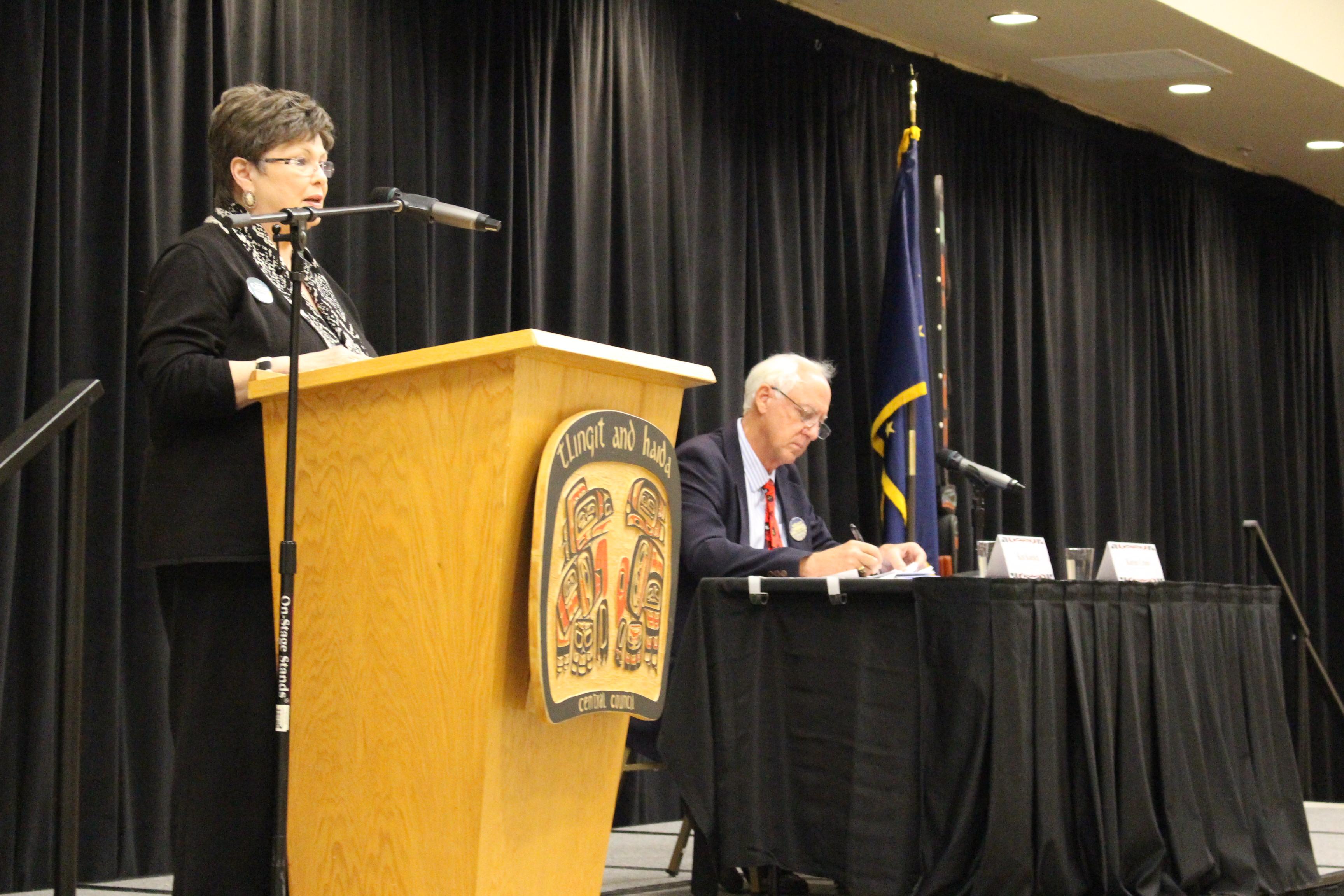 Mayoral candidate Karen Crane and Ken Koelsch spoke at the Native Issues Forum. (Photo by Elizabeth Jenkins/KTOO)