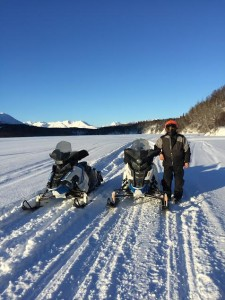 Joe Cleaver and the team's snowmachines on a recent training run near Puntilla Lake. (Photo courtesy of Bobby Frankson)