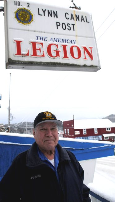 Ralph Strong, a 78-year-old Alaska Native veteran from Klukwan, poses outside the American Legion Hall in nearby Haines. (Photo by Jillian Rogers/KHNS).jpg