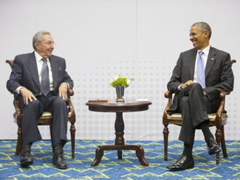 President Obama with Cuban President Raúl Castro during their historic meeting in April 2015 at the Summit of the Americas in Panama City. Pablo Martinez Monsivais/AP