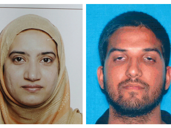 Tashfeen Malik (left) and Syed Farook died in a gunbattle with police after the couple attacked a gathering of Farook's colleagues, killing 14. AP