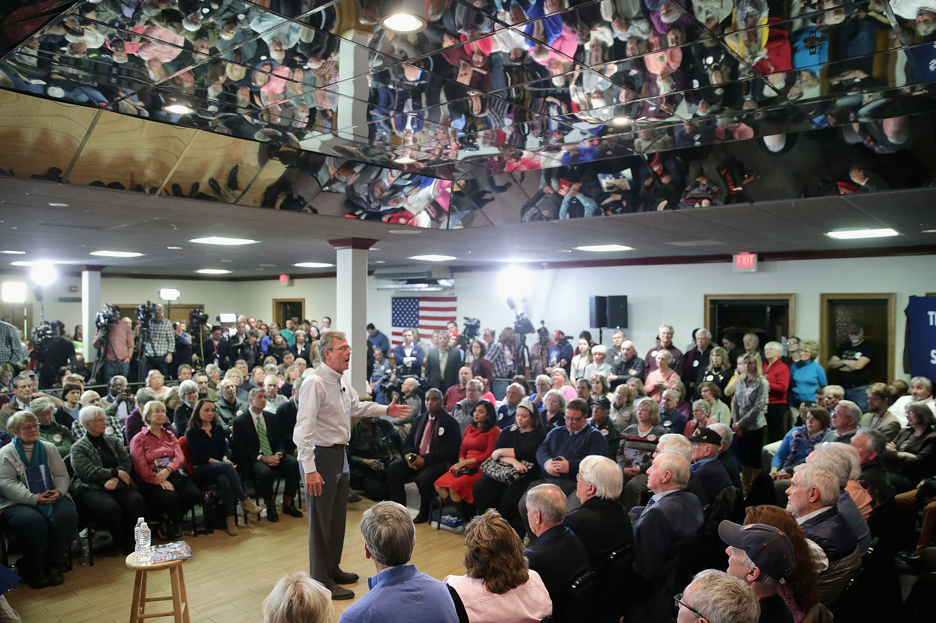 Jeb Bush holds a campaign town hall meeting at the Alpine Club on Monday in Manchester, N.H. (Chip Somodevilla/Getty Images)