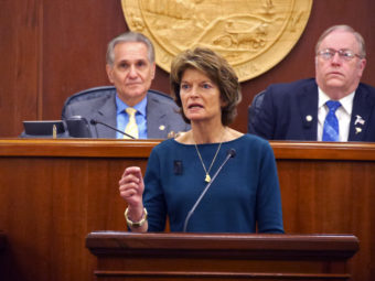 U.S. Senator Lisa Murkowski, R- Alaska, delivers her annual address to the legislature, Feb. 17, 2016. Behind her (left to right) are Senate President Kevin Meyer and Speaker of the House Mike Chenault. (Photo by Skip Gray/360 North)