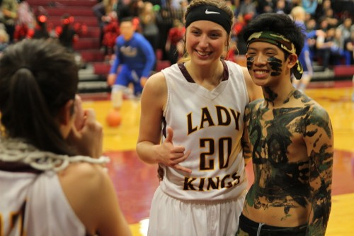 Alexis Biggerstaff can't camouflage her enthusiasm for the Lady Kings' win on Friday. (Photo by Robert Woolsey/KCAW)