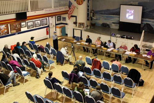 The Sitka School Board at ANB Founders Hall Monday night (3-14-16). ANB/ANS members asked for more frequent reports from the Sitka Native Education Program (SNEP), and suggested that the school board consider holding a second meeting each year in the Native community. (Photo by Robert Woolsey/KCAW)