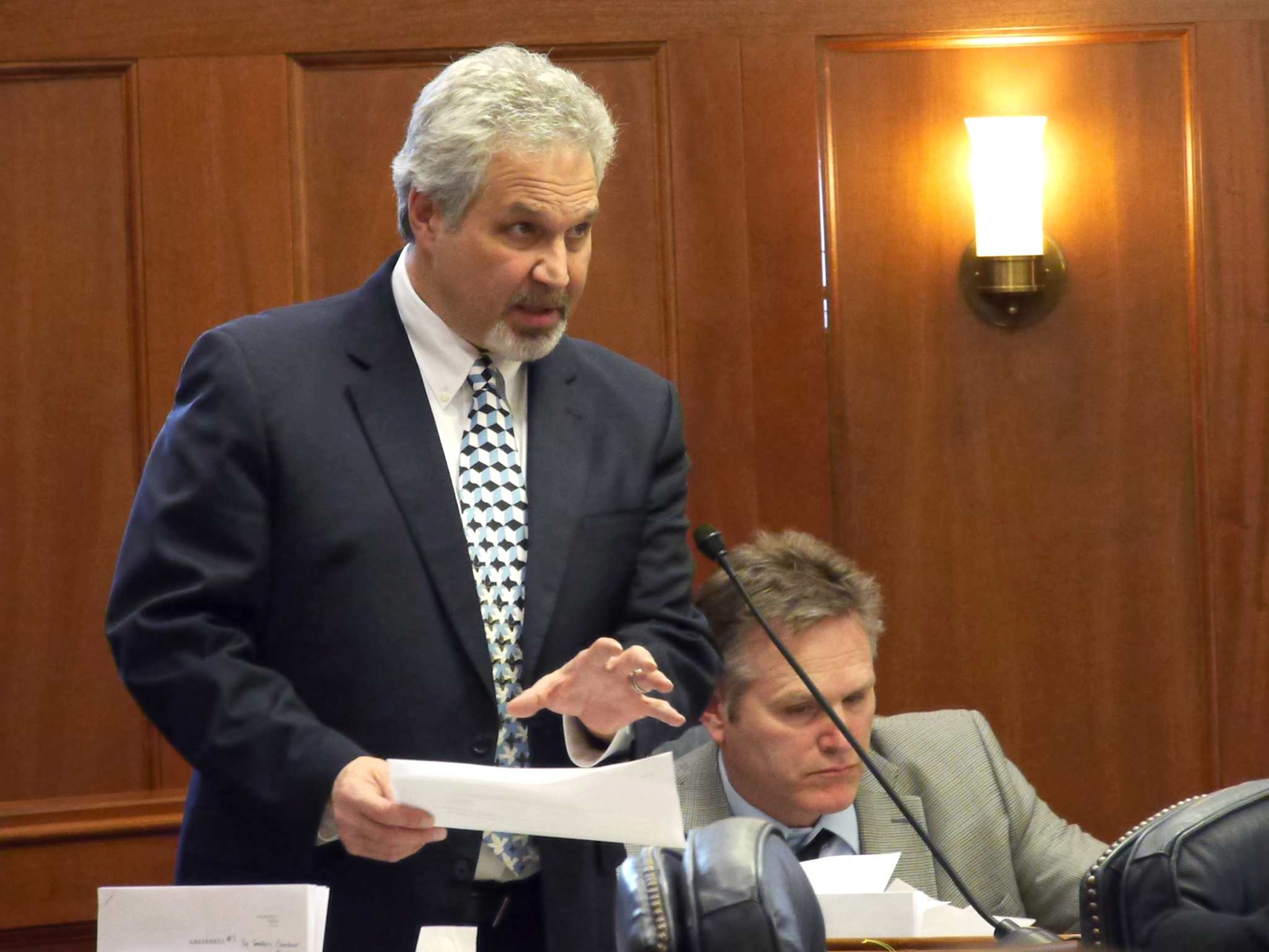 Sen. Pete Kelly, R-Fairbanks, wraps up the discussion on the state operating budget shortly before it was passed out of the Senate, March 14, 2016. (Photo by Skip Gray/360 North)