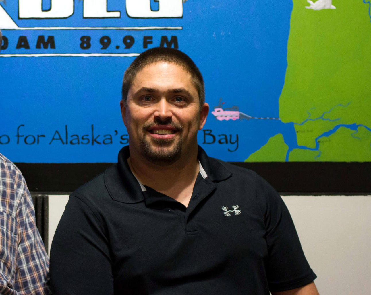 Cody McCanna, longtime SWRSD educator and Koliganek Principal, stopped by KDLG studios for a sports show in 2013. (KDLG photo)
