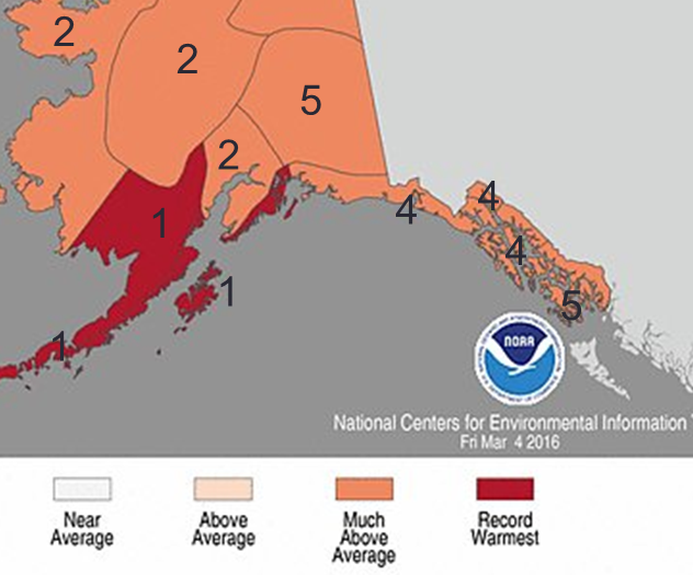 Average Alaska temperature rankings for the winter 2015-16. (Courtesy of NOAA's National Centers for Environmental Information)