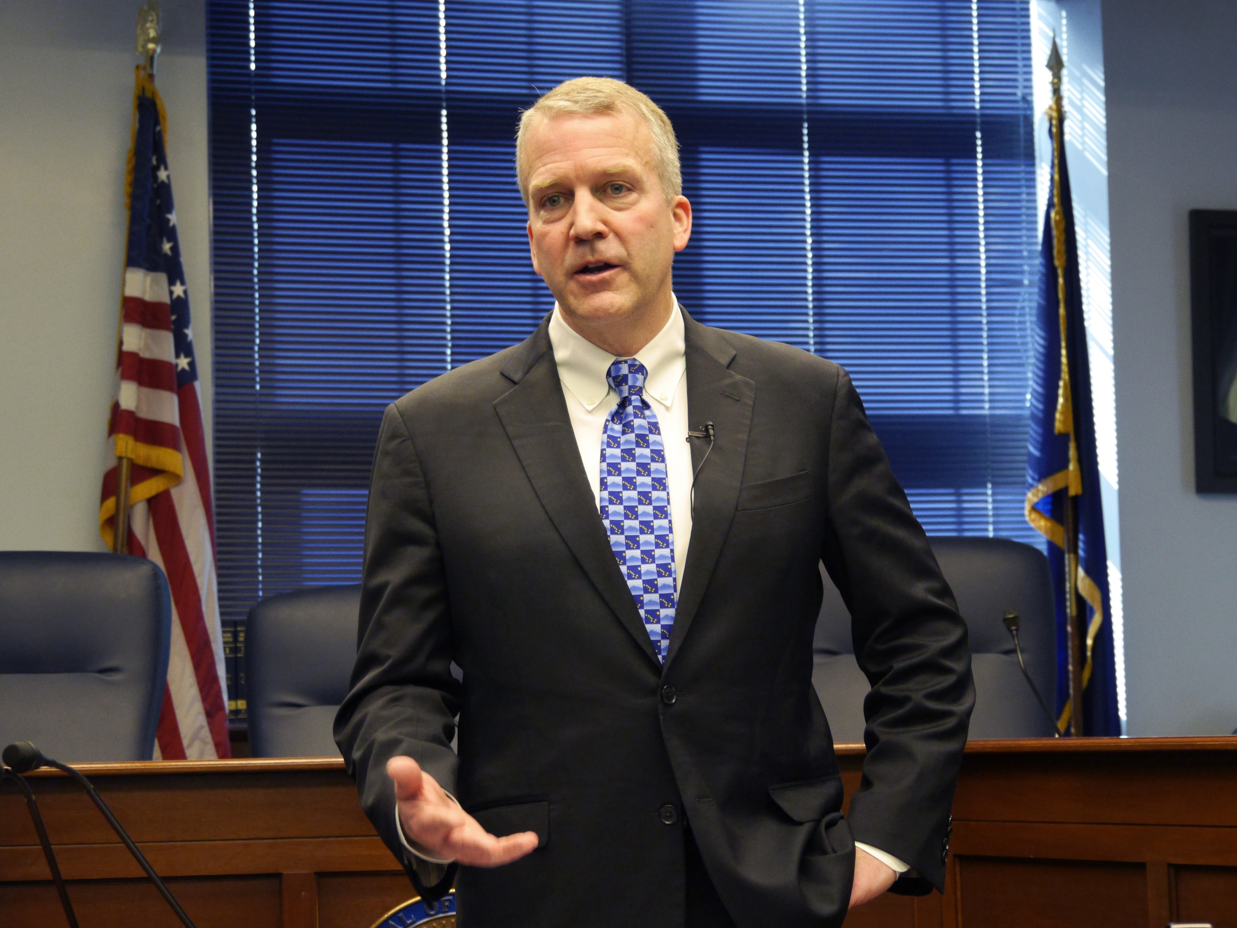 U.S. Senator Dan Sullivan, R-Alaska, at a press availability fol