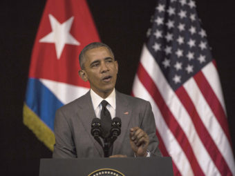 "President Obama delivers a speech at the Grand Theater of Havana in Cuba on Tuesday. Obama said he came to Cuba to ""bury the last remnant of the Cold War in the Americas."" Desmond Boylan/AP"