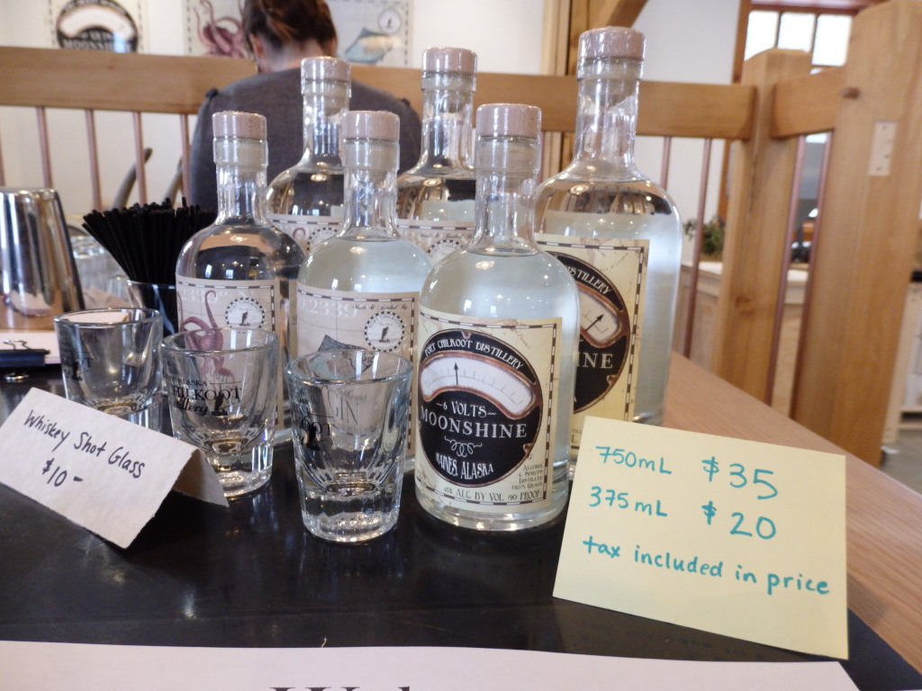 Haines' Port Chilkoot Distillery Icy Strait Vodka, 50 Fathoms Gin and 12 Volts Moonshine. (Photo by Emily Files/KHNS)