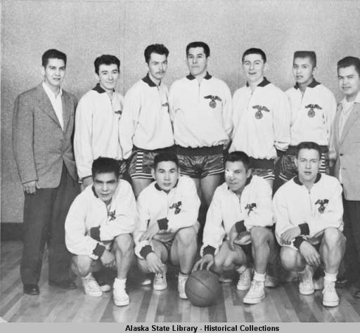 The Sitka Alaska Native Brotherhood team at the 1956 Gold Medal Tournament. (Photo courtesy of Alaska State Library Historical Collection)