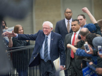 Sen. Bernie Sanders arrives for a rally at Macomb Community College on Saturday in Warren, Mich. Scott Olson/Getty Images