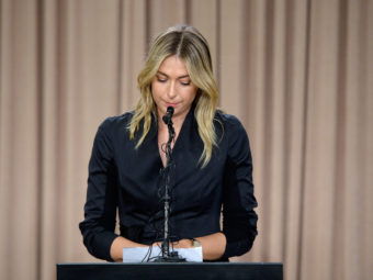 Maria Sharapova talks to the media in Los Angeles on Monday regarding a failed drug test. Kevork Djansezian/Getty Images