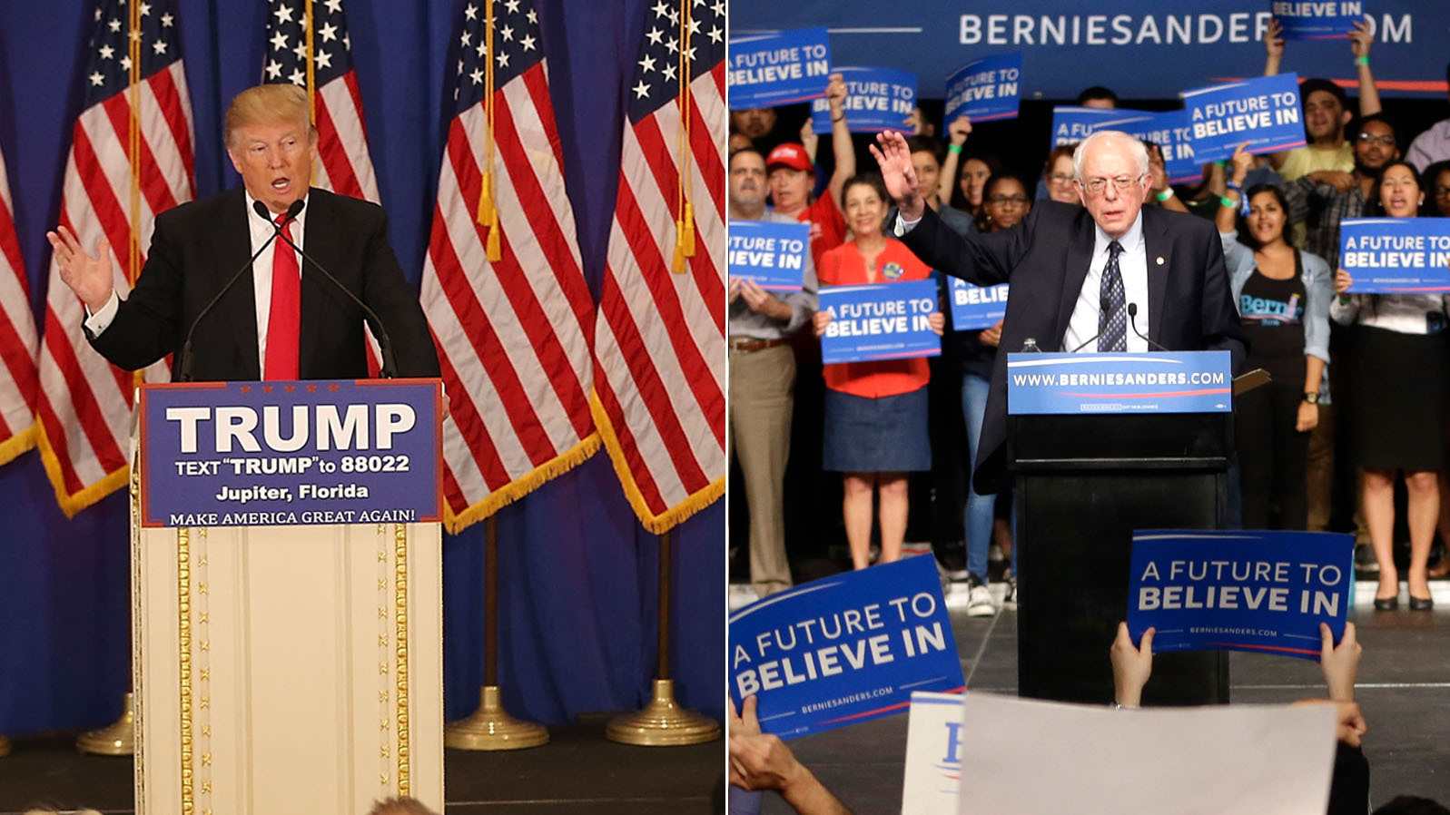 Presidential candidates Donald Trump and Bernie Sanders celebrate after victories in Tuesday night's contests. (Joe Raedle/Getty Images and Alan Diaz/AP)