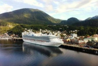 A cruise ship is docked at Ketchikan's downtown Berth 2. About 1 million cruise passengers visited Southeast in 2015. (Photo by Leila Kheiry/KRBD)