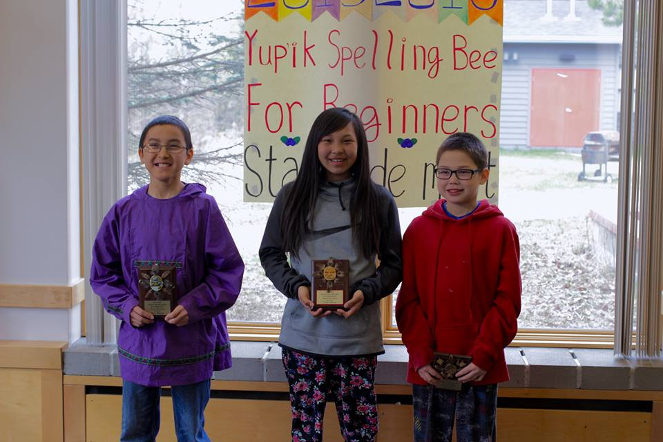 1st place, Daniel Hunter, 7th grade, Sheldon Point School; 2nd place, Celeste Katcheak, 7th grade, Tukurngailnguq School; and 3rd place, Emery Lockwood, 6th grade, Tukurngailnguq School (left to right). (Photo by Max Dan.)