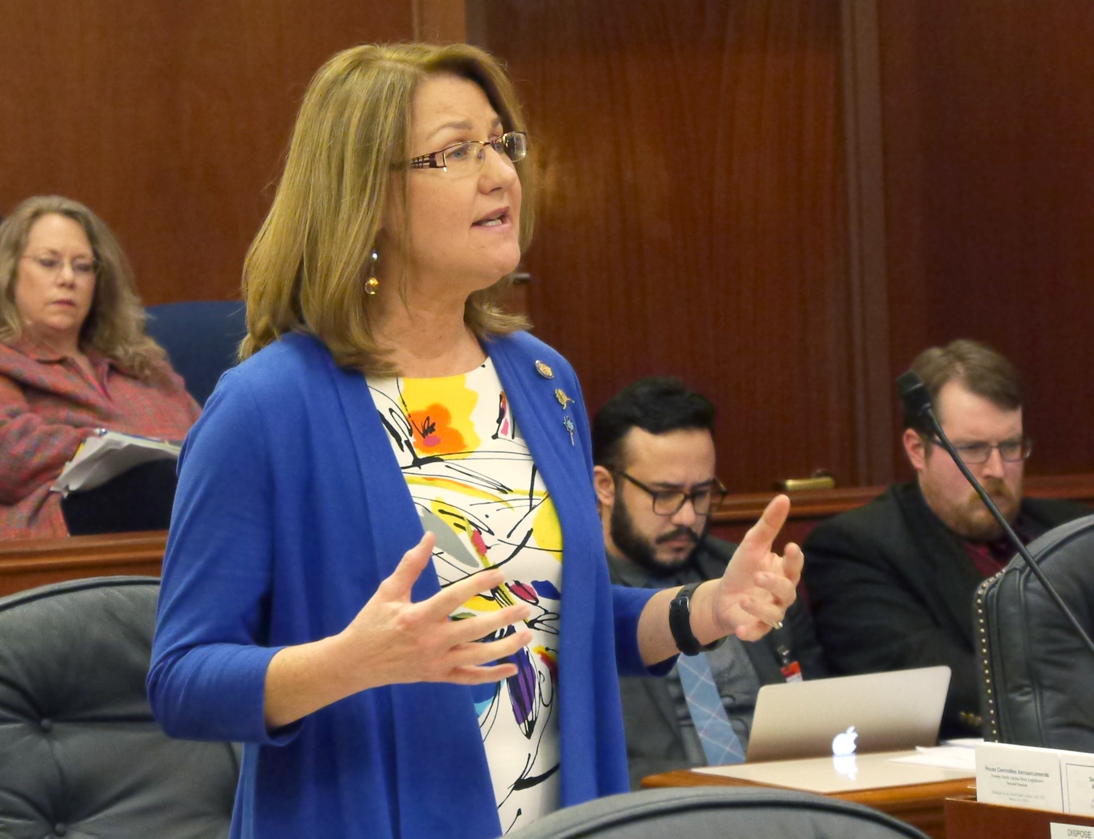 Sen. Anna MacKinnon, R-Eagle River, on the floor of the Senate during debate about the state operating budget, March 14, 2016. (Photo by Skip Gray/360 North)