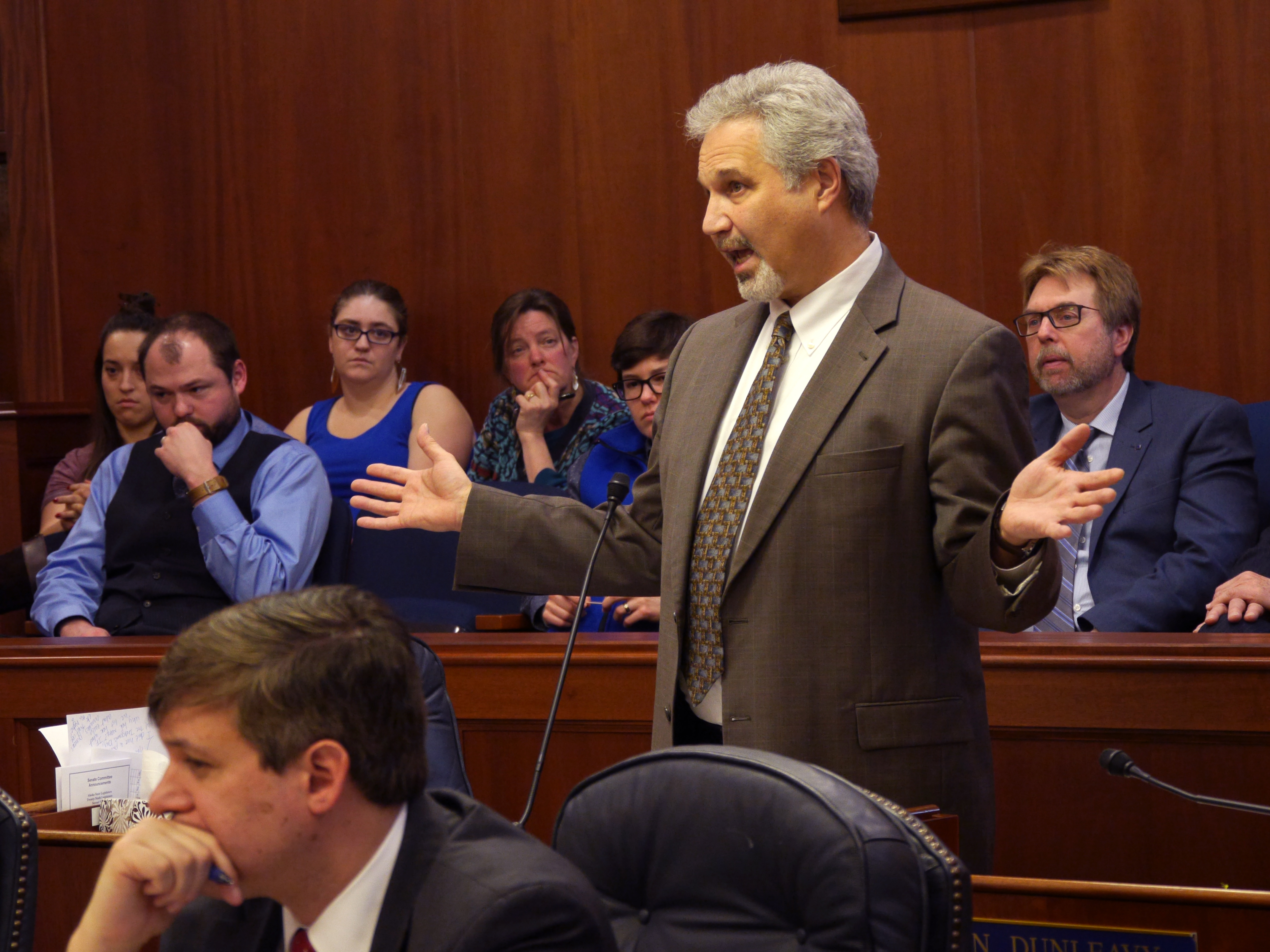 Sen. Pete Kelly, R-Fairbanks, debating the merits of his Senate Bill 174, April 7, 2016. The billl would deny the University of Alaska the authority to regulate the possession of guns and knives on campuses. (Photo by Skip Gray/360 North)