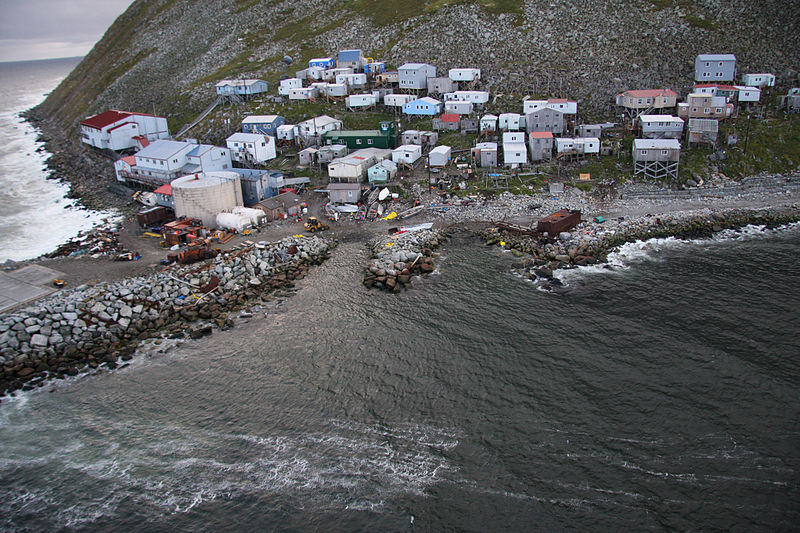 The Native village of Little Diomede sits on the border of Russia and the United States. (Public Domain photo)