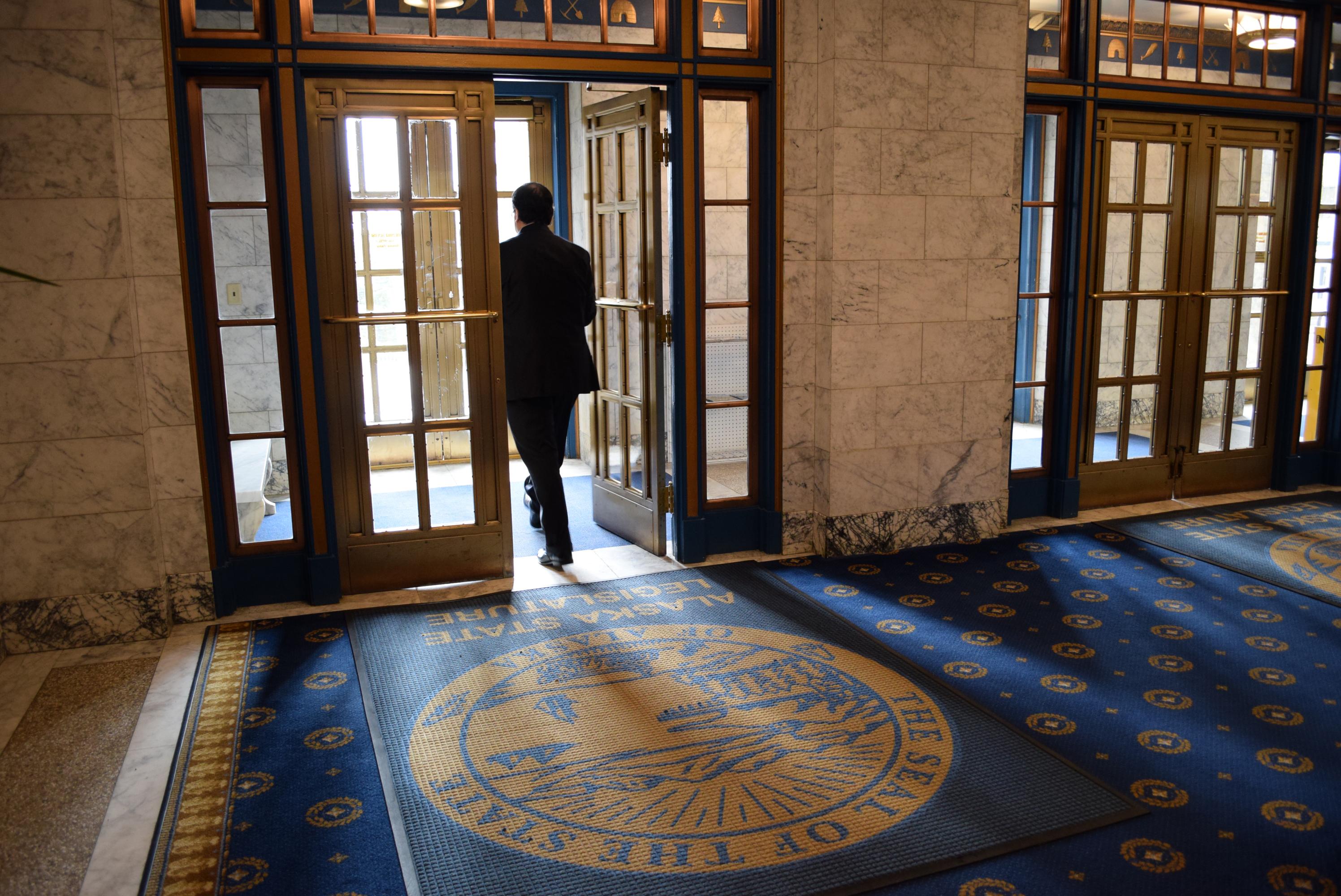 The main doors of the Alaska Capitol, Feb. 24, 2015. (Photo by Skip Gray/360 North)