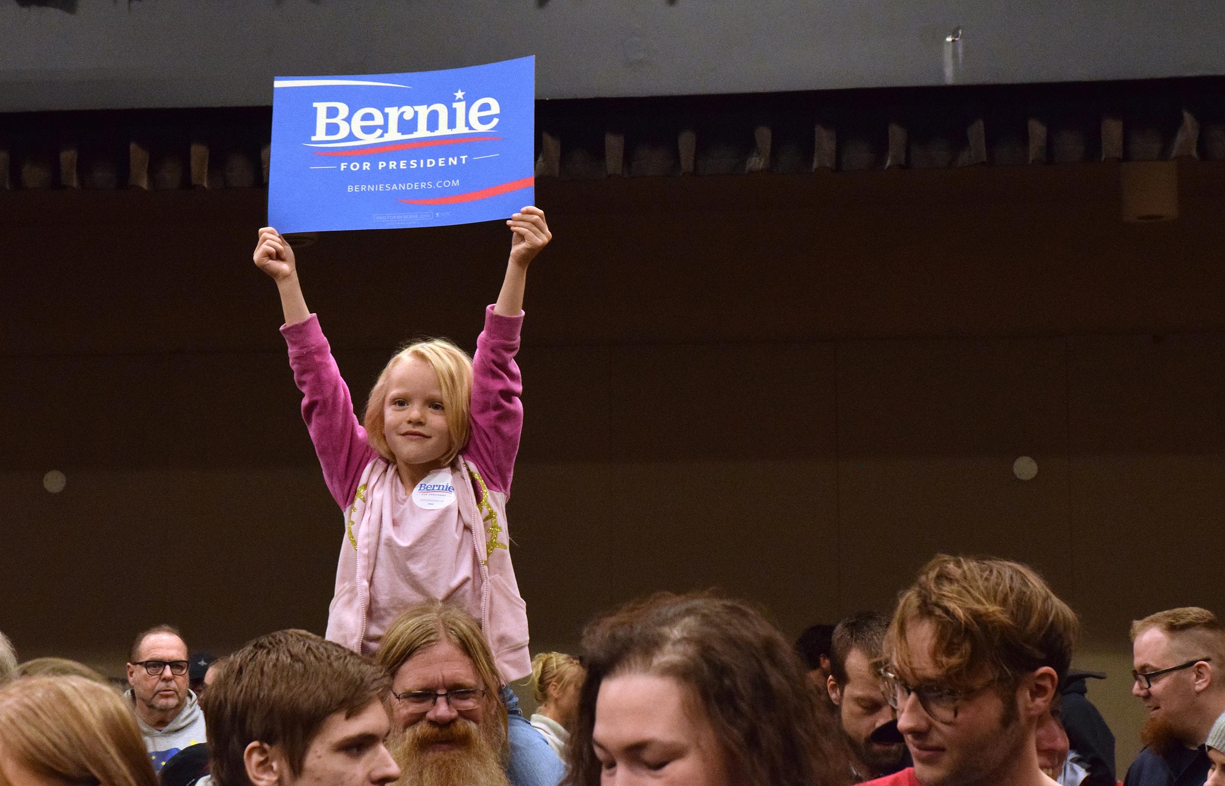 Benie Sanders sign at Juneau Democratic Caucus