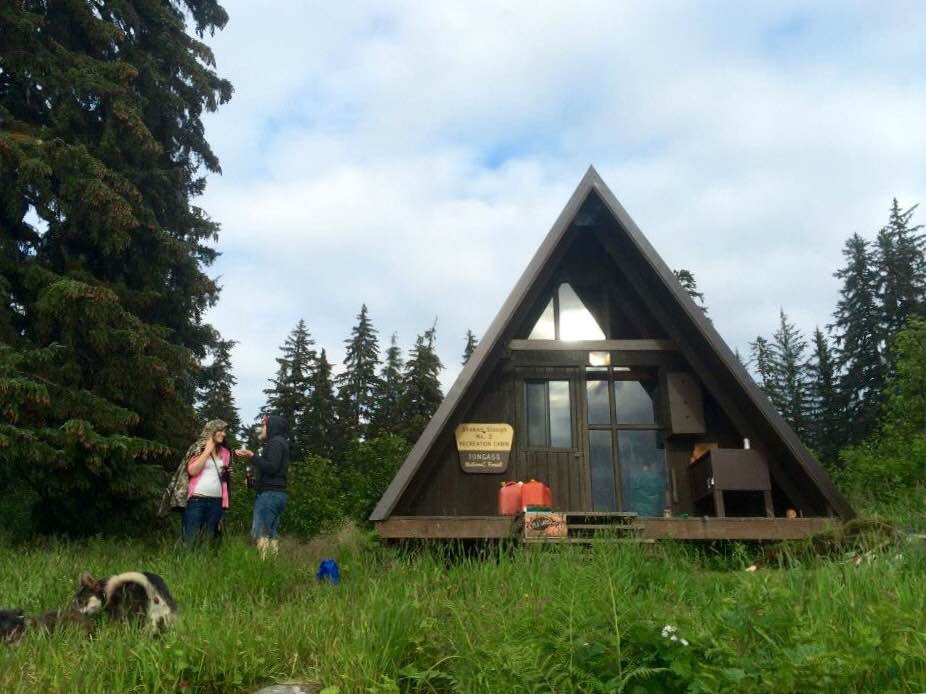 Campers arrive at the Shakes Slough U.S. Forest Service cabin on the Tongass National Forest. (Photo by Katarina Sostaric/KSTK)