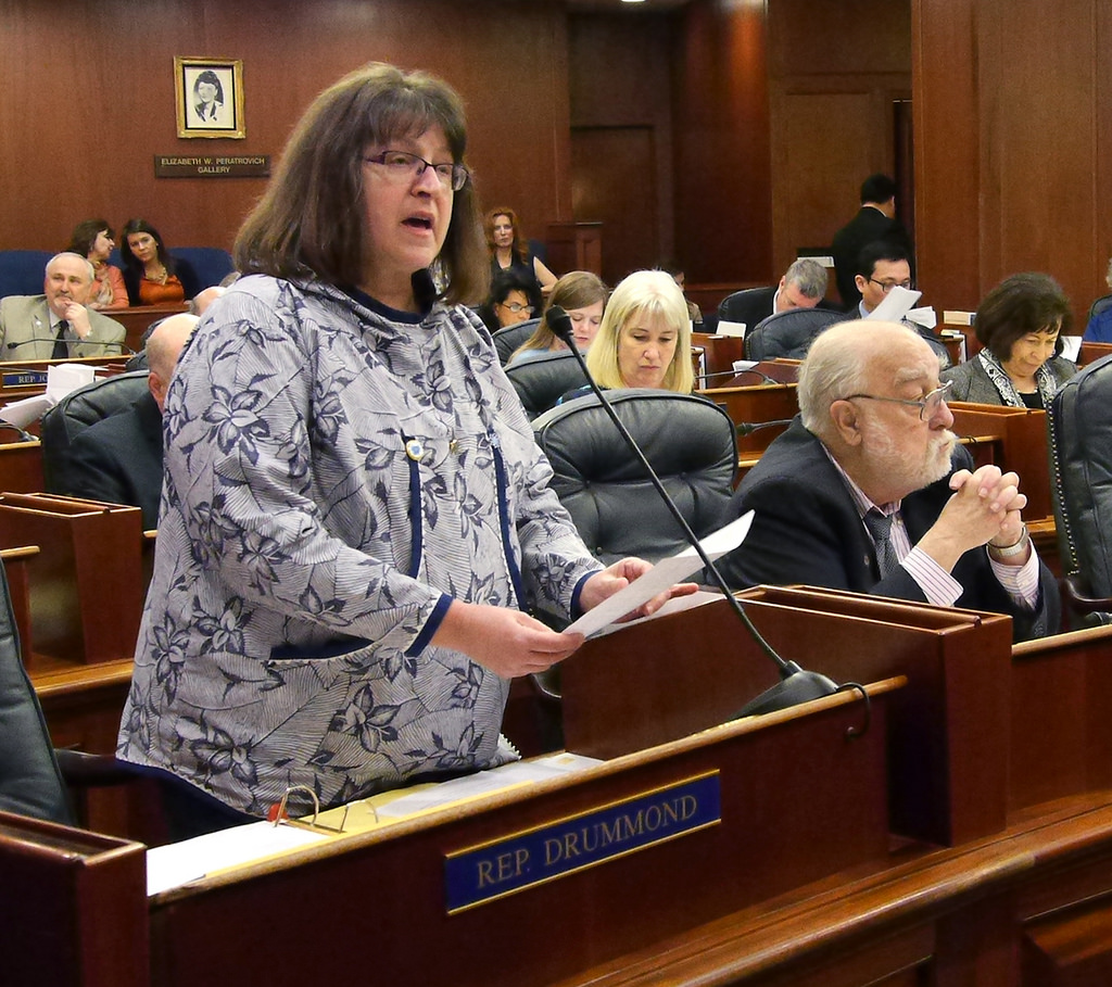 Rep. Harriet Drummond, D-Anchorage, speaks in support of a bill she sponsored to create Indigenous Peoples Day, April 1, 2016. (Photo by Skip Gray/360 North)