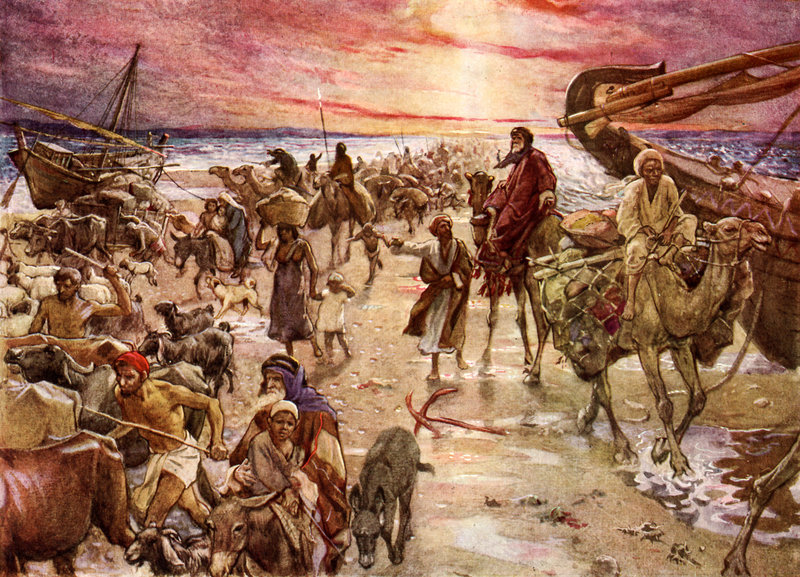 "The Passage of the Red Sea, illustration by William Hole (1846-1917). Exodus 14:16: ""but lift thou up thy rod, and stretch out thine hand over the sea, and divide it: and the children of Israel shall go on dry ground through the midst of the sea."" Corbis Images"