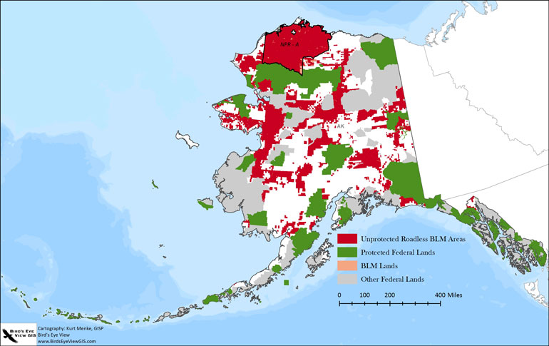 map of protected federal lands and unprotected blm roadless areas in alaska image courtesy