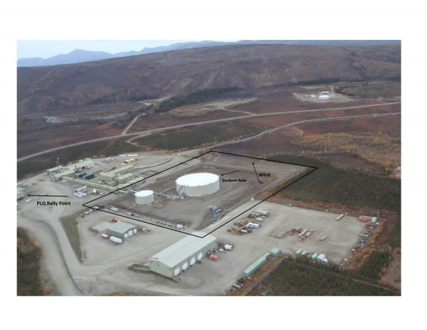 The April 20, 2016 fire took place at Pump Station 5, near Coldfoot. (Image courtesy of Alyeska Pipeline Service Co.)