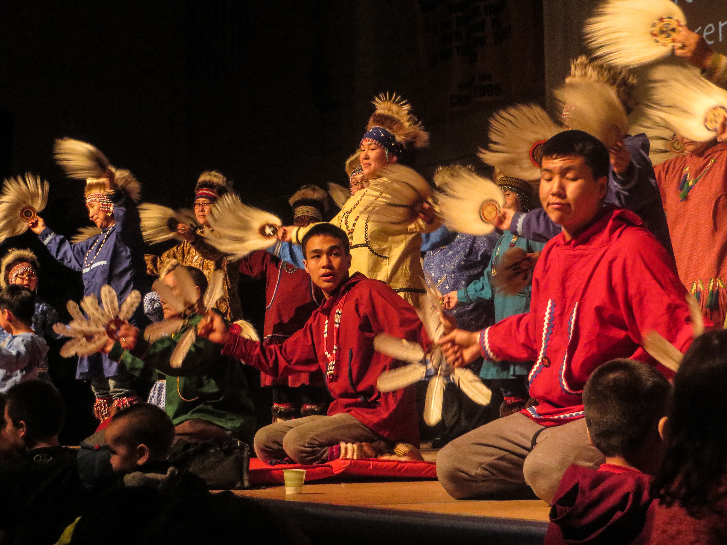 Byron Nicholai performs with the Toksook Bay Traditional Dancers. (Photo by Laura Kraegel/KNOM).