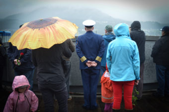 More than a hundred people gathered at Alaska Commercial Fishermen's Memorial May 7, 2016 for the Blessing of the Fleet in Juneau. (Photo by Jennifer Canfield/KTOO)