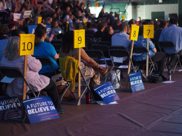 Alaska Democratic Party Members seated by house district at the state convention in Anchorage. (Photo by Zachariah Hughes/KSKA)
