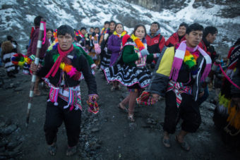 Each province represented at the festival used to carve out heavy chunks of ice from the glacier — symbol of water and life — to bring back to their communities. Sebastian Castañeda Vita
