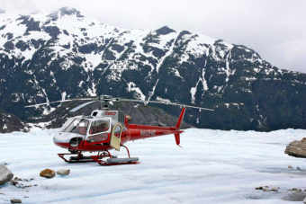 A TEMSCO helicopter on Mendenhall Glacier in 2009. (Creative Commons Photo by Robert Raines)