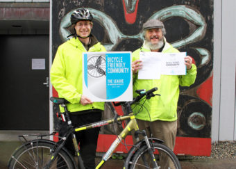 Doug Osborne and Charles Bingham Sitka with Bike Award 05 17 2016