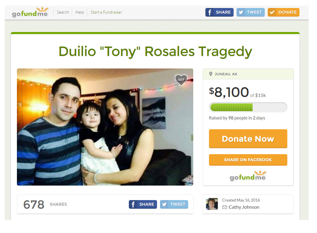 Screenshot of gofundme page for Duilio Rosales on May 19, 2016.