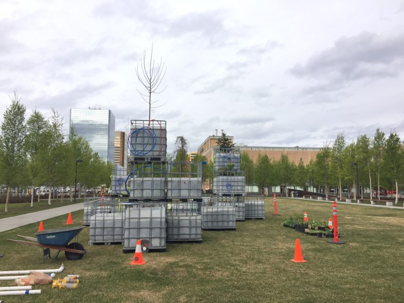 "Mary Mattingly's ""Arctic Food Forest,"" a living sculpture that functions similar to a small-scale ecosystem, exhibited in front of the Anchorage Museum as part of ""The View From Up Here."" (Photo Zachariah Hughes/Alaska Public Media)"