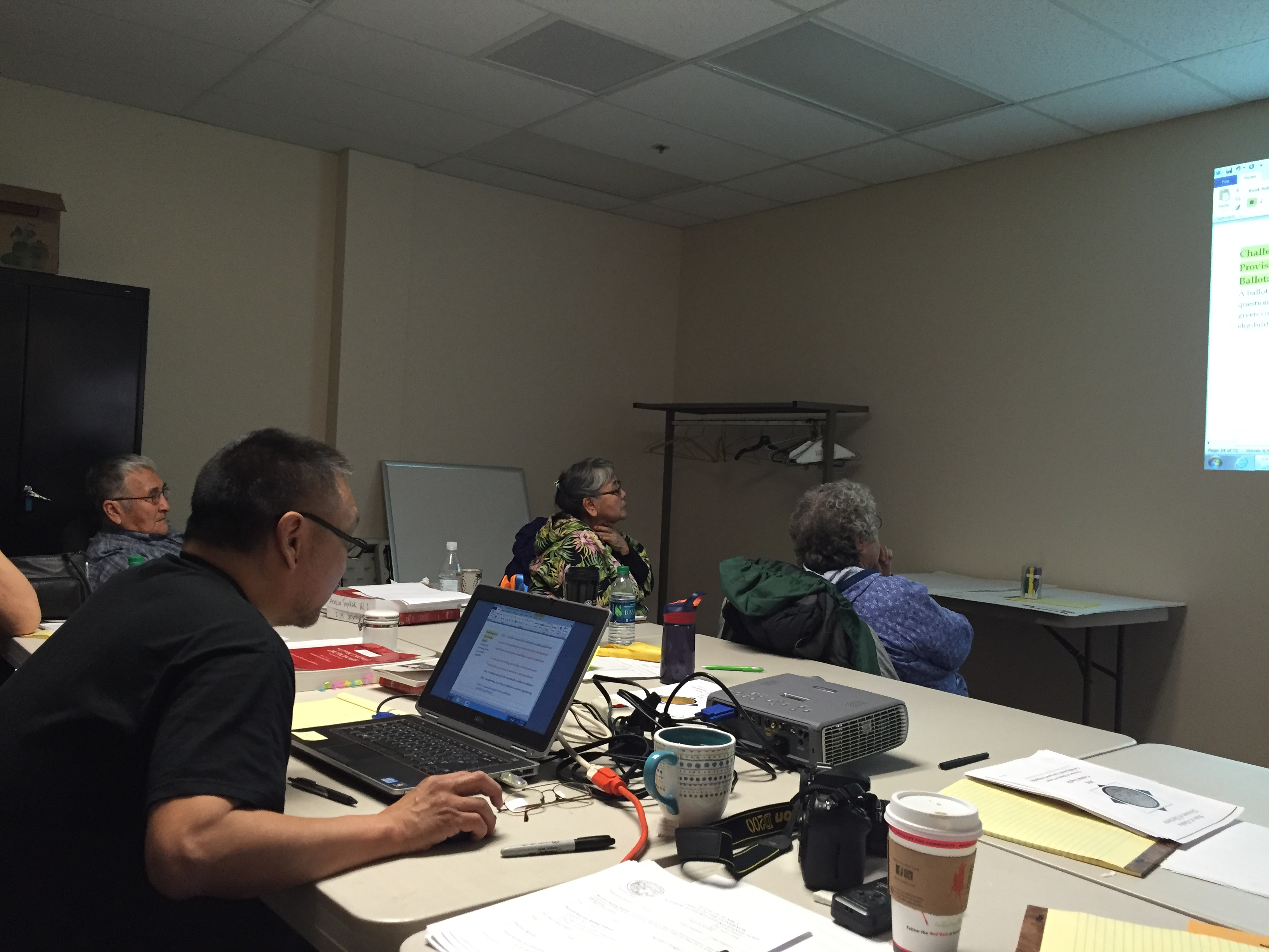 A group of Yup'ik translators meet to develop a glossary of election terms in Yup'ik. (Photo by Anne Hillman/KSKA)
