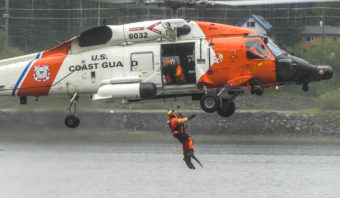 U.S. Coast Guard search & rescue demo at the 2016 Juneau Maritime Festival (Photo by David Purdy/KTOO)