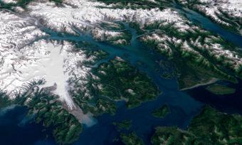 Visualization of Glacier Bay, based on Landsat imagery and USGS elevation data
