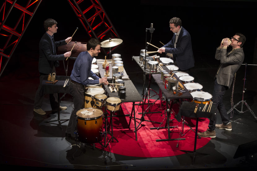 "Jan. 21, 2014; Ensemble, Third Coast Percussion deliver their talk titled, ""Never Compromise, Collaborate,"" followed by a performance during the TEDxUND 2014 event in the Debartolo Performing Arts Center. (Photo by Barbara Johnston/Courtesy Third Coast Percussion)"